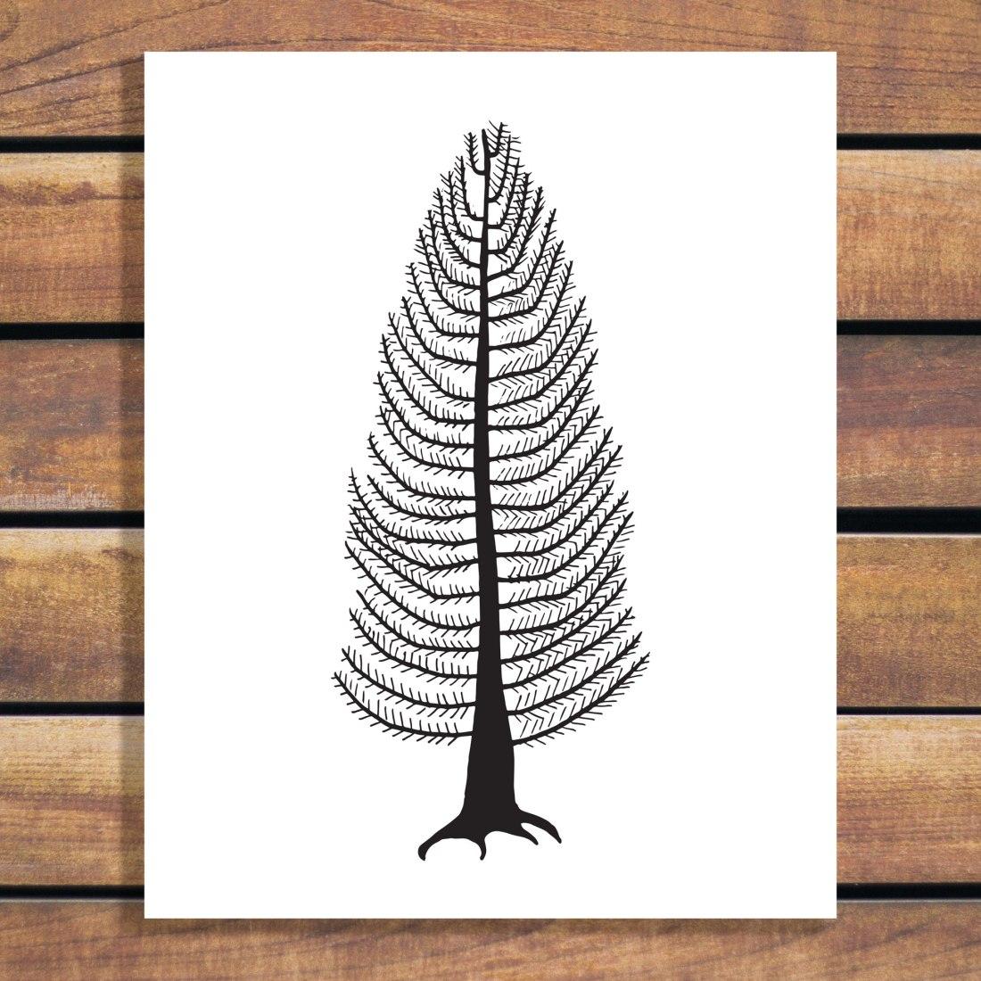 Modern Cedar Tree Illustration Art Print by Brina Schenk