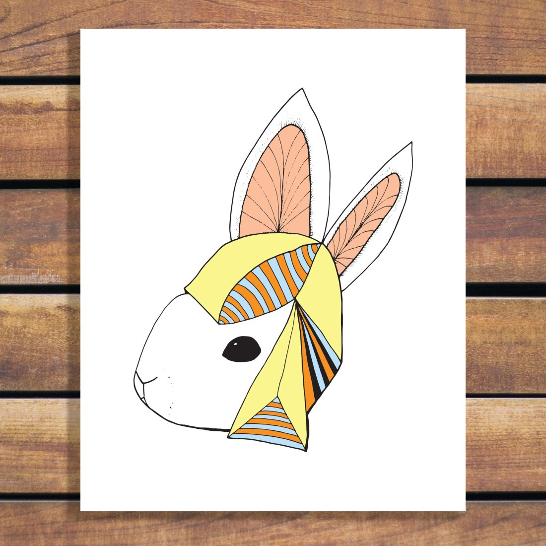 Hip Hop Hare - Rabbit Wearing a Hat Illustration Art Print by Brina Schenk
