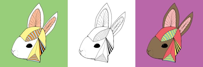 Annex Collections - Art by Brina Schenk - Custom Art Print Rabbit wearing a hat
