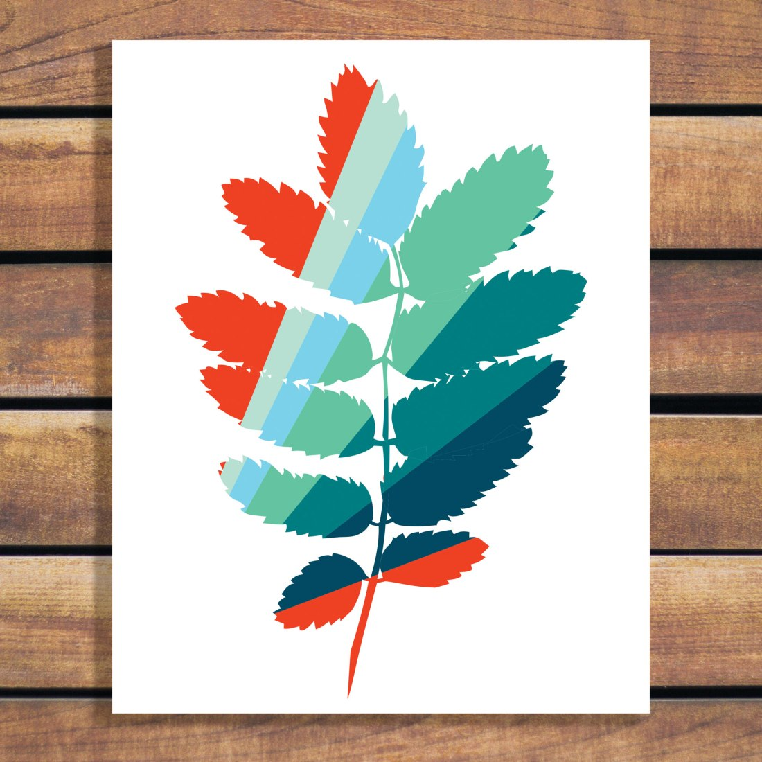 Brina Schenk Art Print - Colourful Striped Leaf Art Print - customizable art download in vector