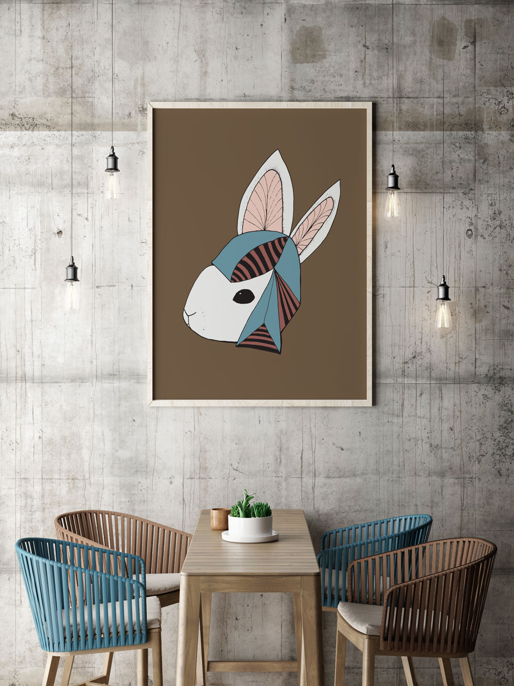 Annex Collections Rabbit Wearing Hat Illustration
