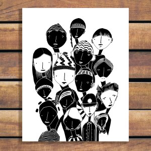 People Illustration by Brina Schenk in Black and White - Customizable Art Prints