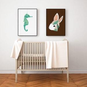 nursery room animal profile art prints - custom colour art