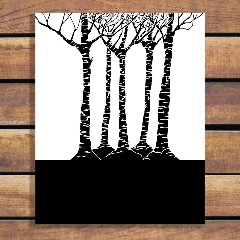 Forest Family Art Print - Monotone Illustration in Black and White - Download artwork in vector