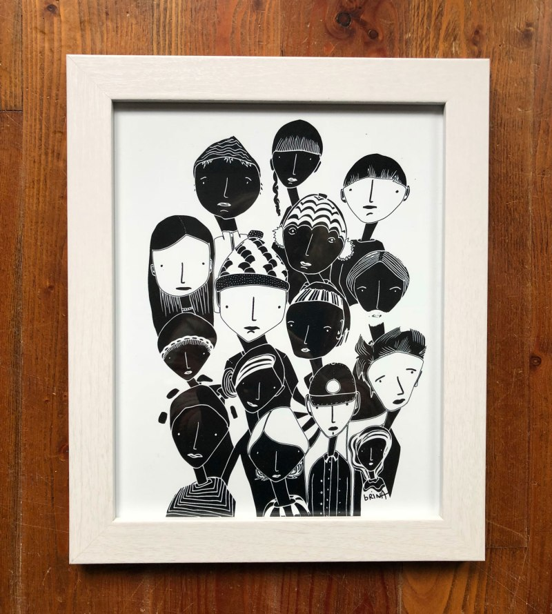 Artwork For Sale - Printed, Signed and Framed copies of People Study in Black and White