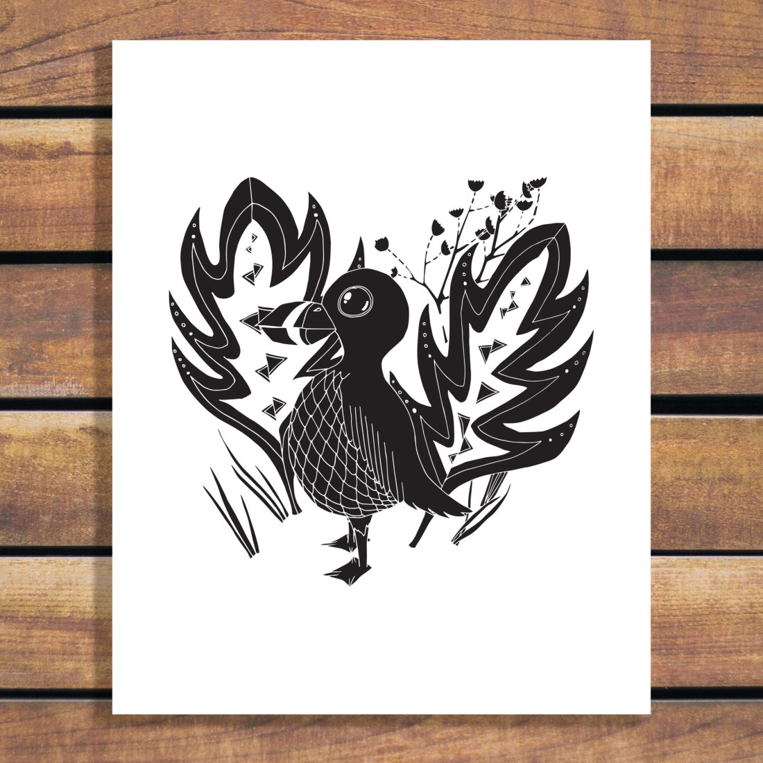 Handsome Bird Illustration by Brina Schenk - download art file in vector and customize colours
