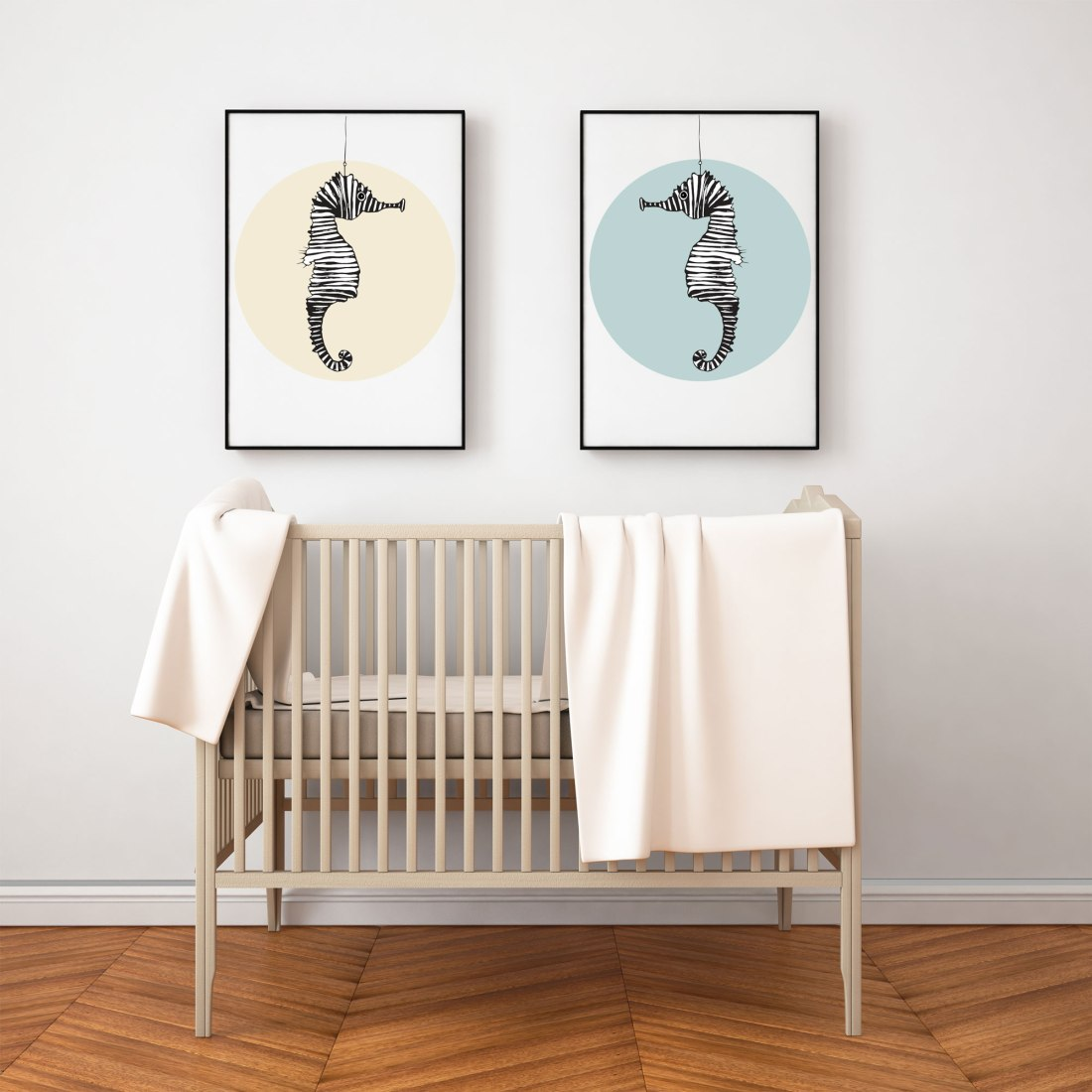 Customizable Art - Seahorse Illustration in Nursery Room - Wall Art for baby room