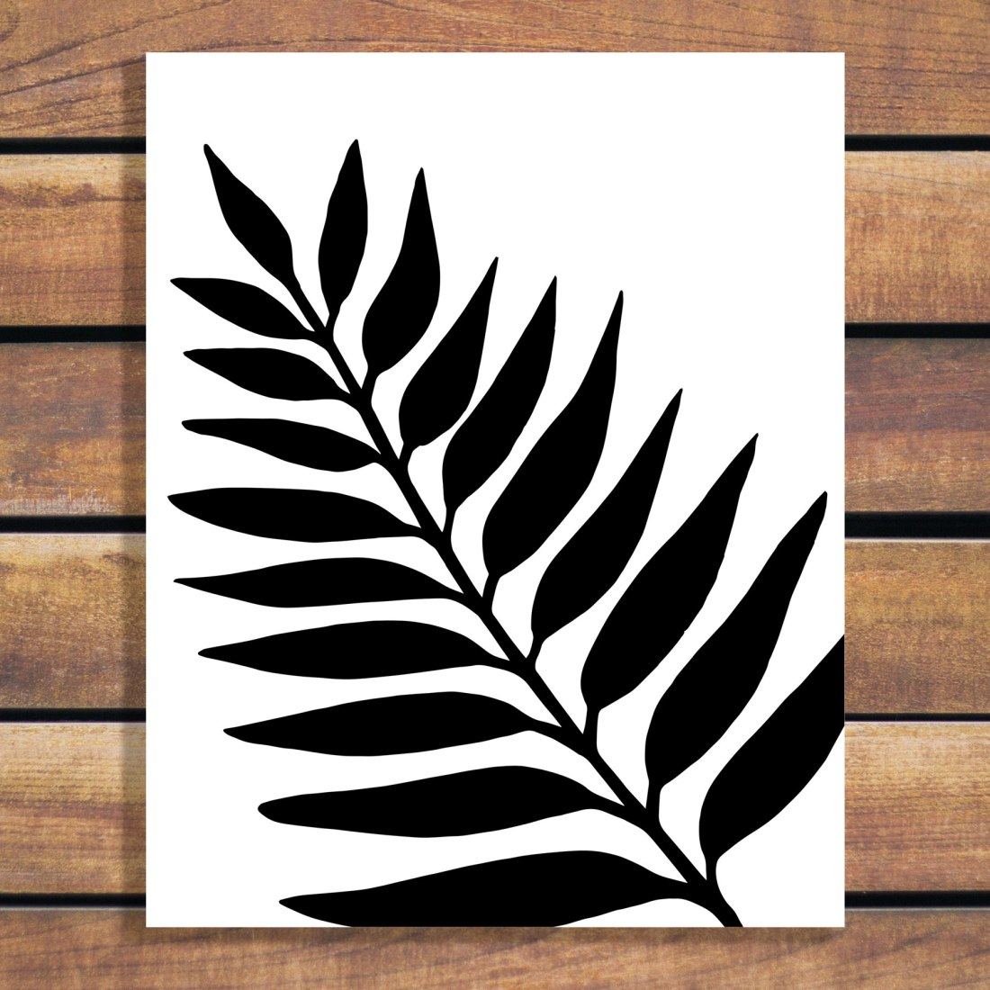 One Leaf Illustration by Brina Schenk - simple and modern artwork to customize with colour and size.