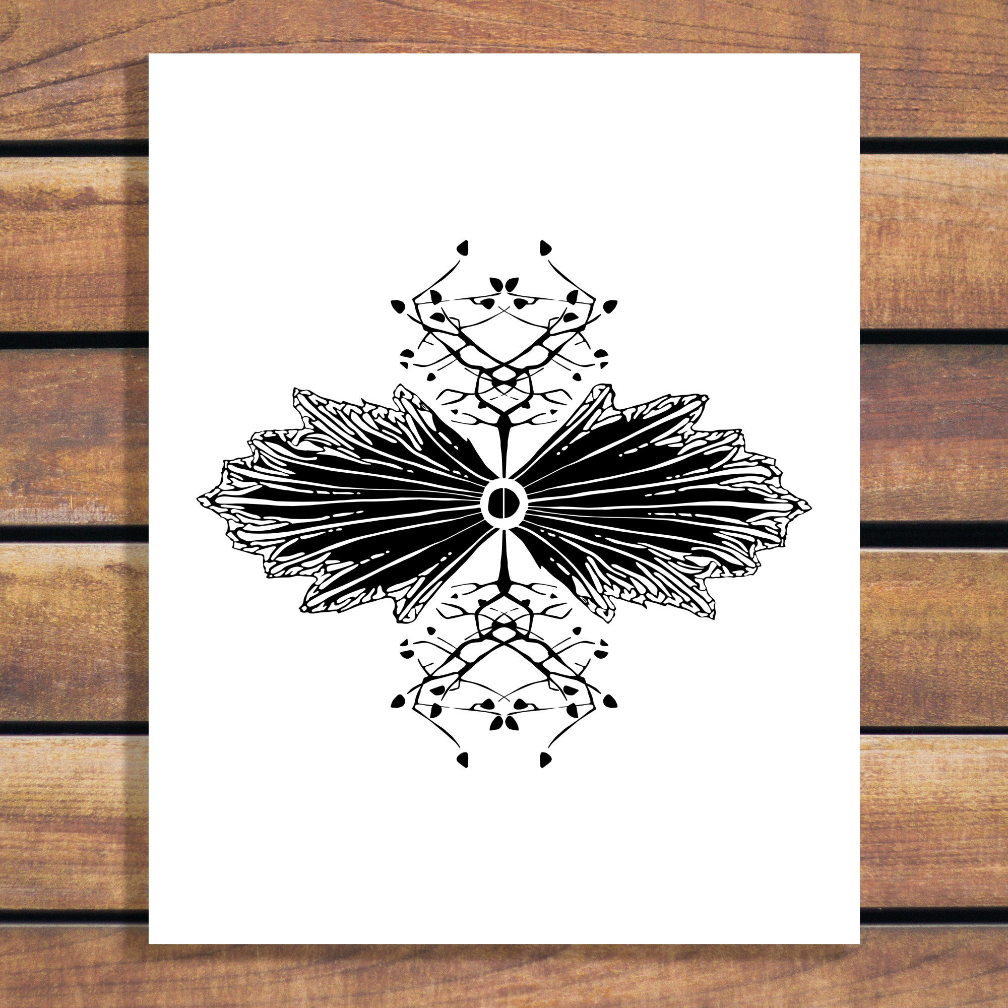 Brina Schenk Illustration - Organic Symmetry Black and White illustration art print