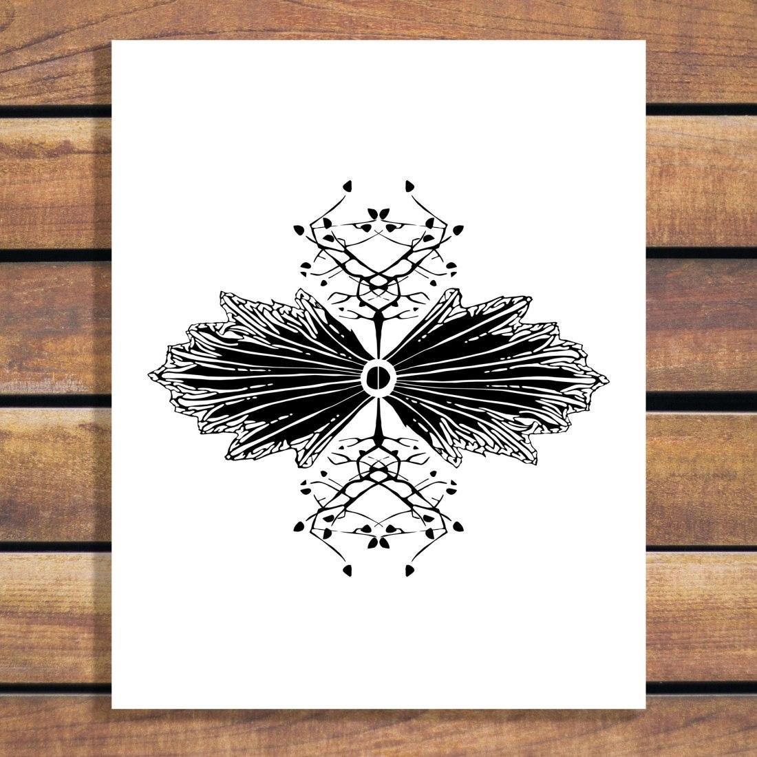 Brina Schenk Illustration - Organic Symmetry Black and White illustration art print