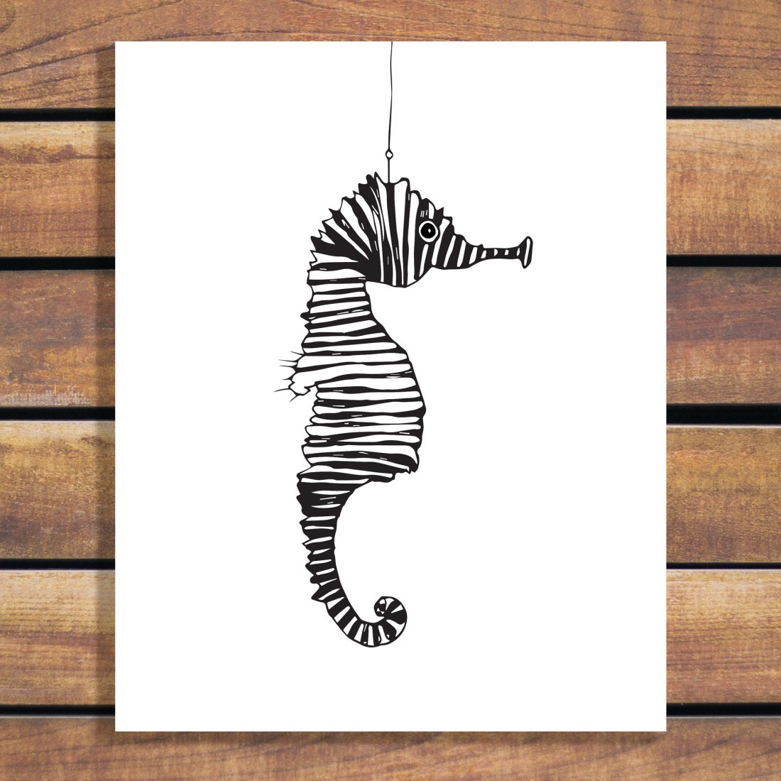 Suspended Seahorse Illustration Art Poster Print - Custom Wall Art by changing colours and size of artwork