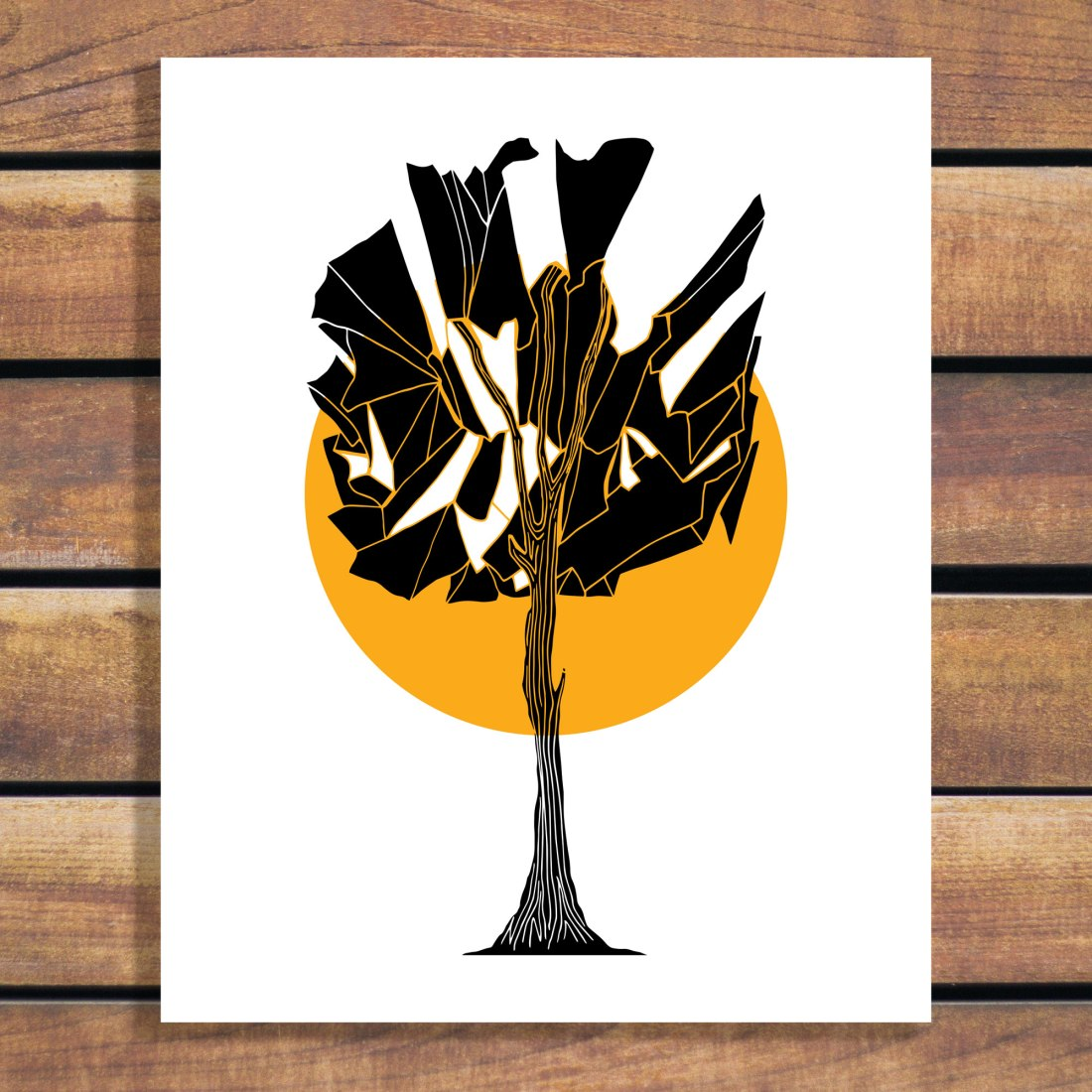 Illustrated Art by Brina Schenk - Tree Illustration and Sun - Compartment or shattered Tree