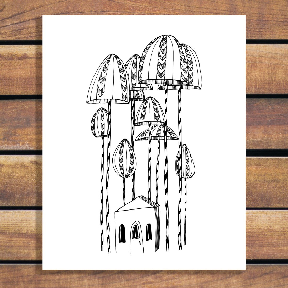 Illustration Art Print - Living in Umbrella Trees by Brina Schenk - download and customize the colours and size