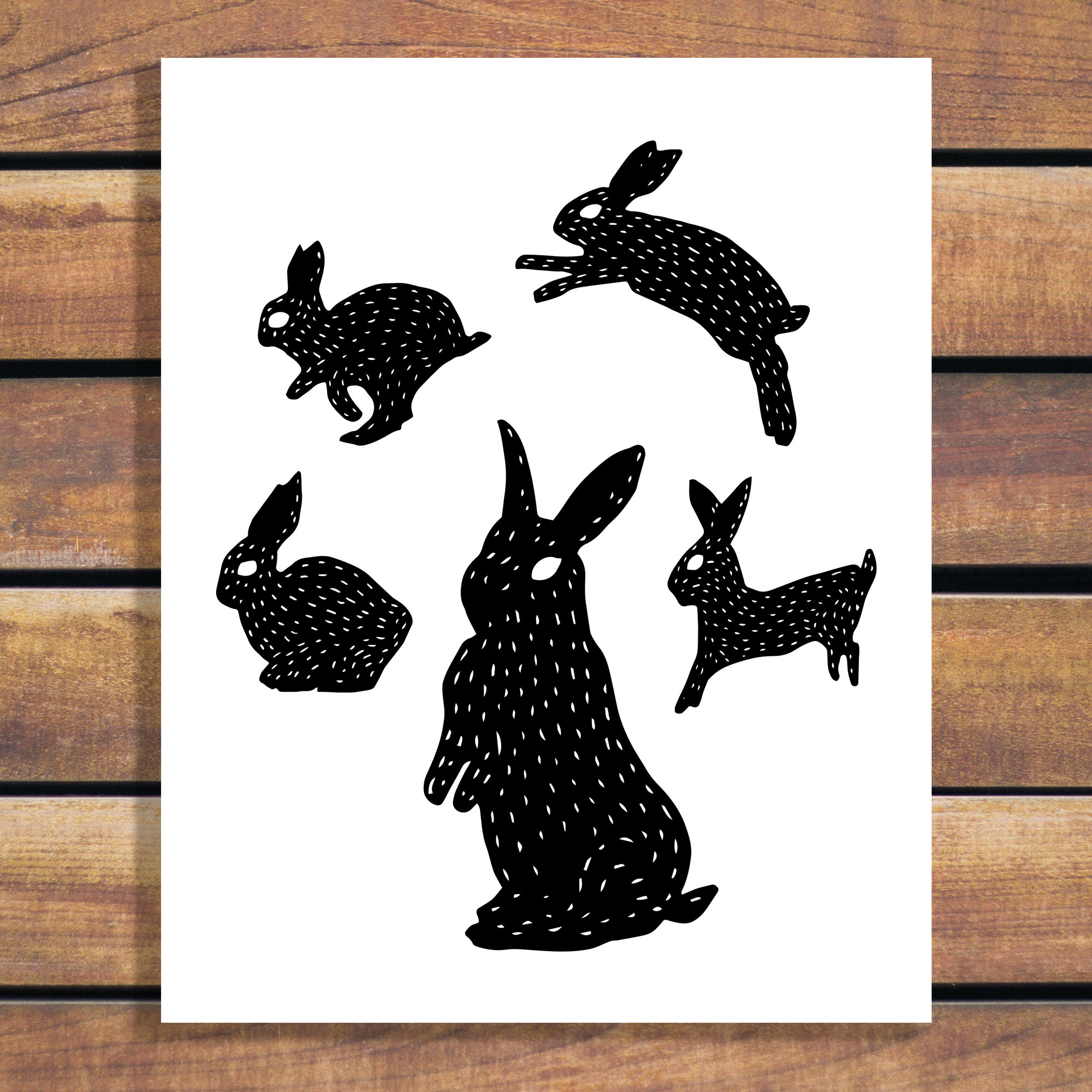 Bunny Art Illustration Print - Rabbit Movement artwork by Brina Schenk - customize the colours and size of art