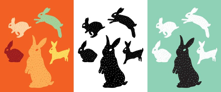 Wild Hare Play - Custom Colour Artwork for your home or office - bunny love