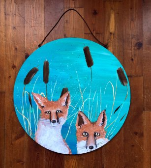 Two Fox Painting by Brina Schenk - Circle Wood Artwork