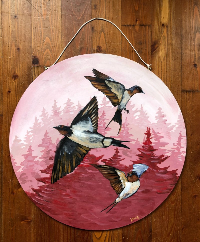 Sparrows Bird Circle Art Painting by Brina Schenk - Acrylic on Wood - Forest Background and bird