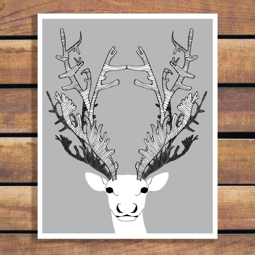 Caribou illustration by Brina Schenk - Custom Colour Digital Art