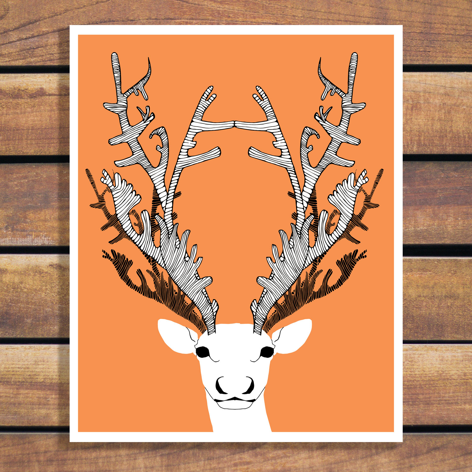 Caribou Illustration by Brina Schenk - Custom Colour art poster and prints - digital files or signed prints.