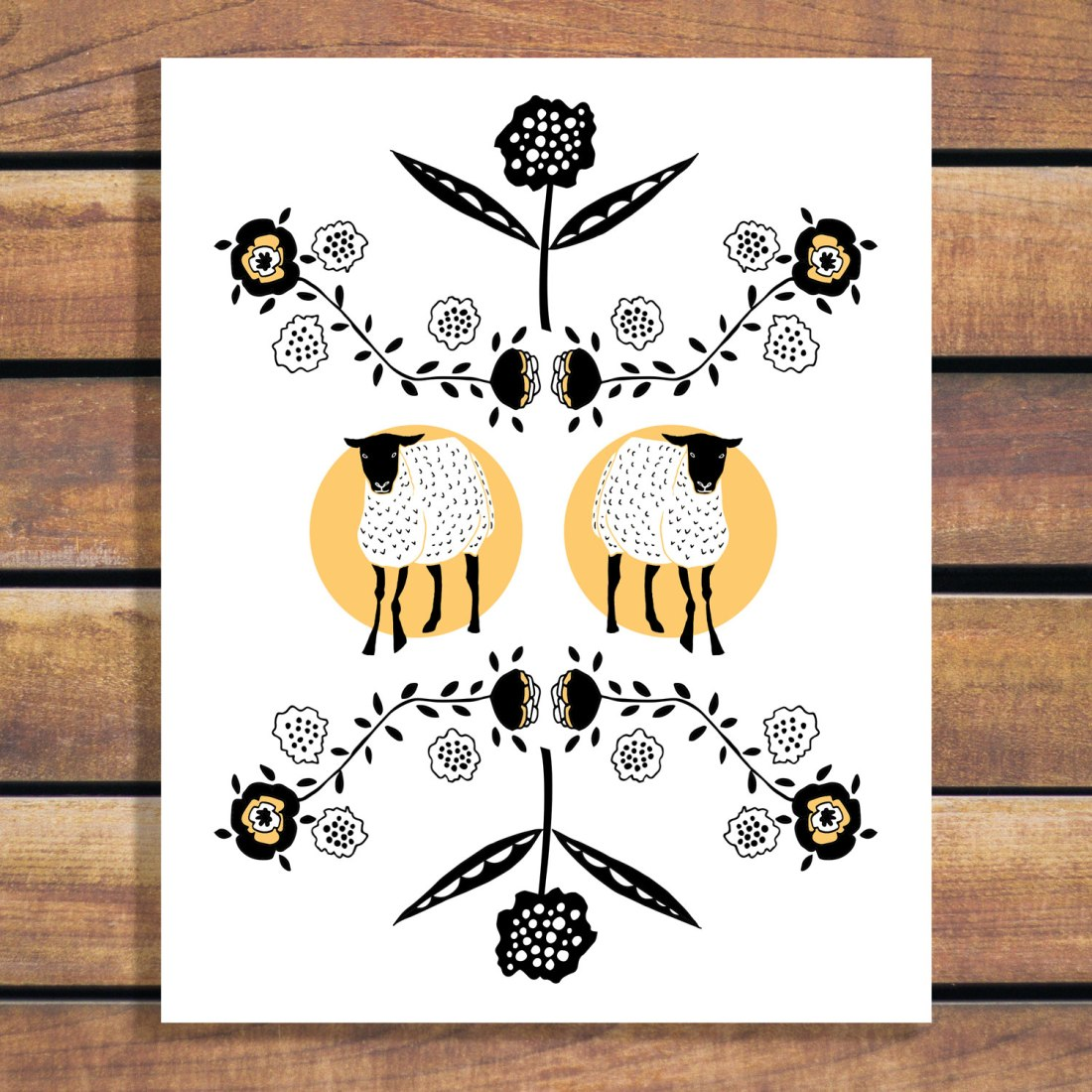 Twins! Lamb and floral illustration art poster for your baby room or kid's bedroom