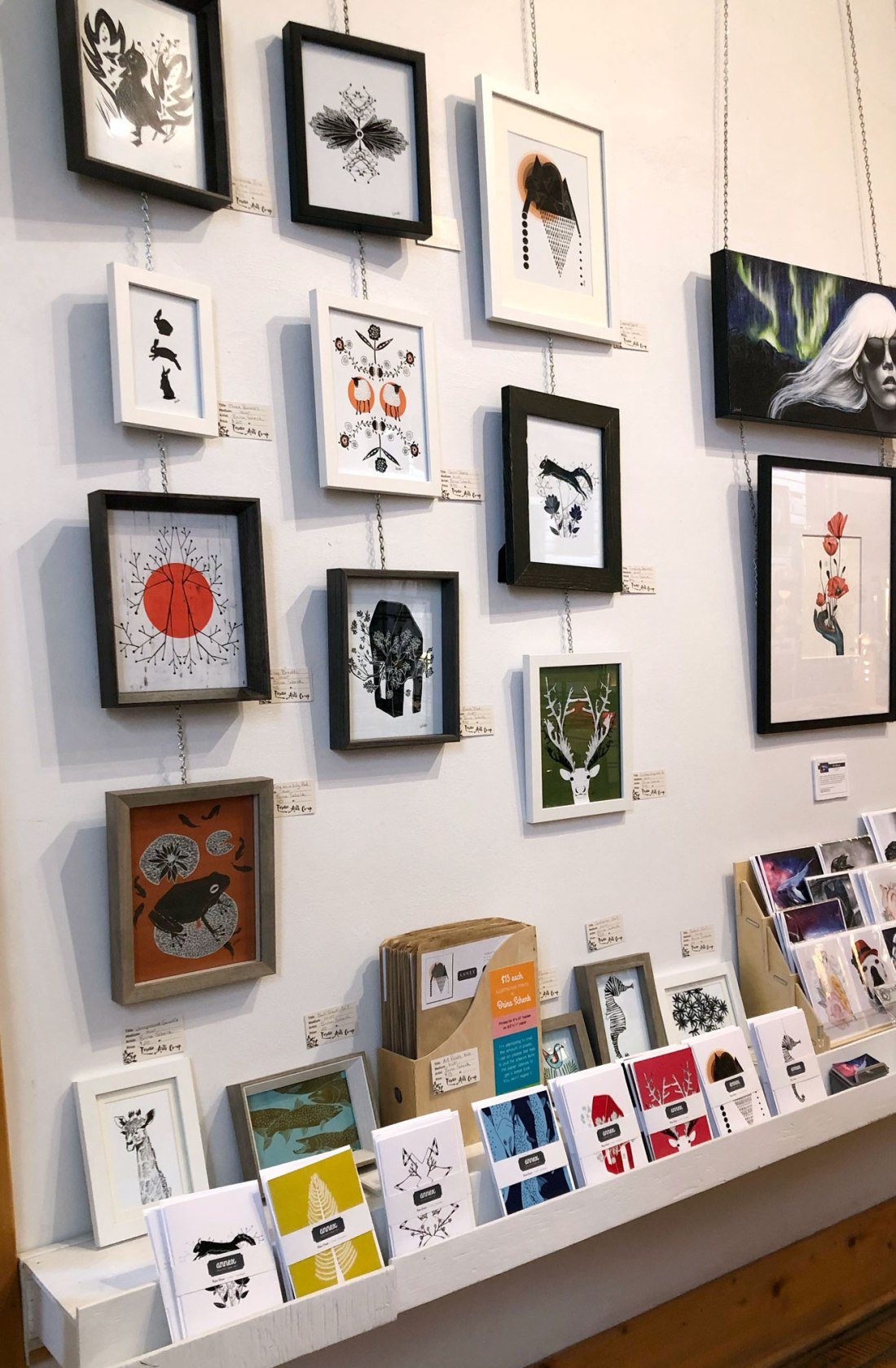 Brina Schenk's art at Fernie Arts Co-op in Fernie BC - wall art and blank art cards with other local artists
