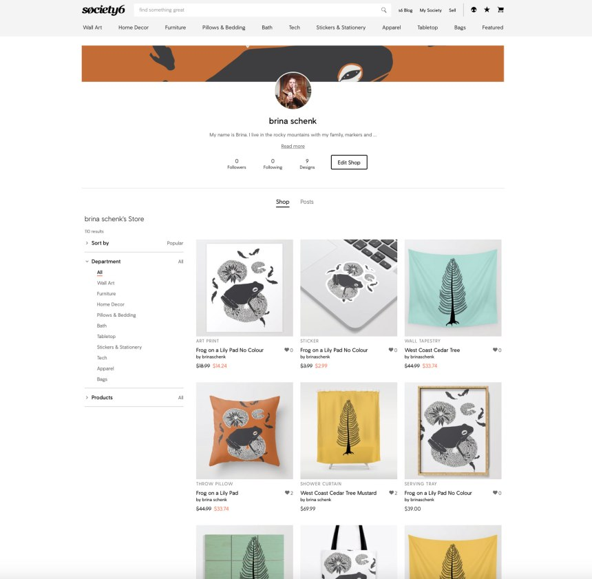 Society6 Artist Shop - shop all products with Brina Schenk's illustration artwork on it.