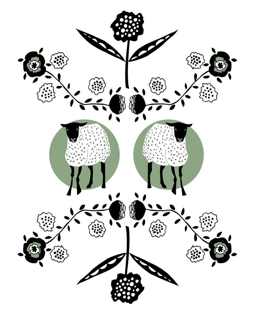 Twins! Lamb Art illustration by Brina Schenk