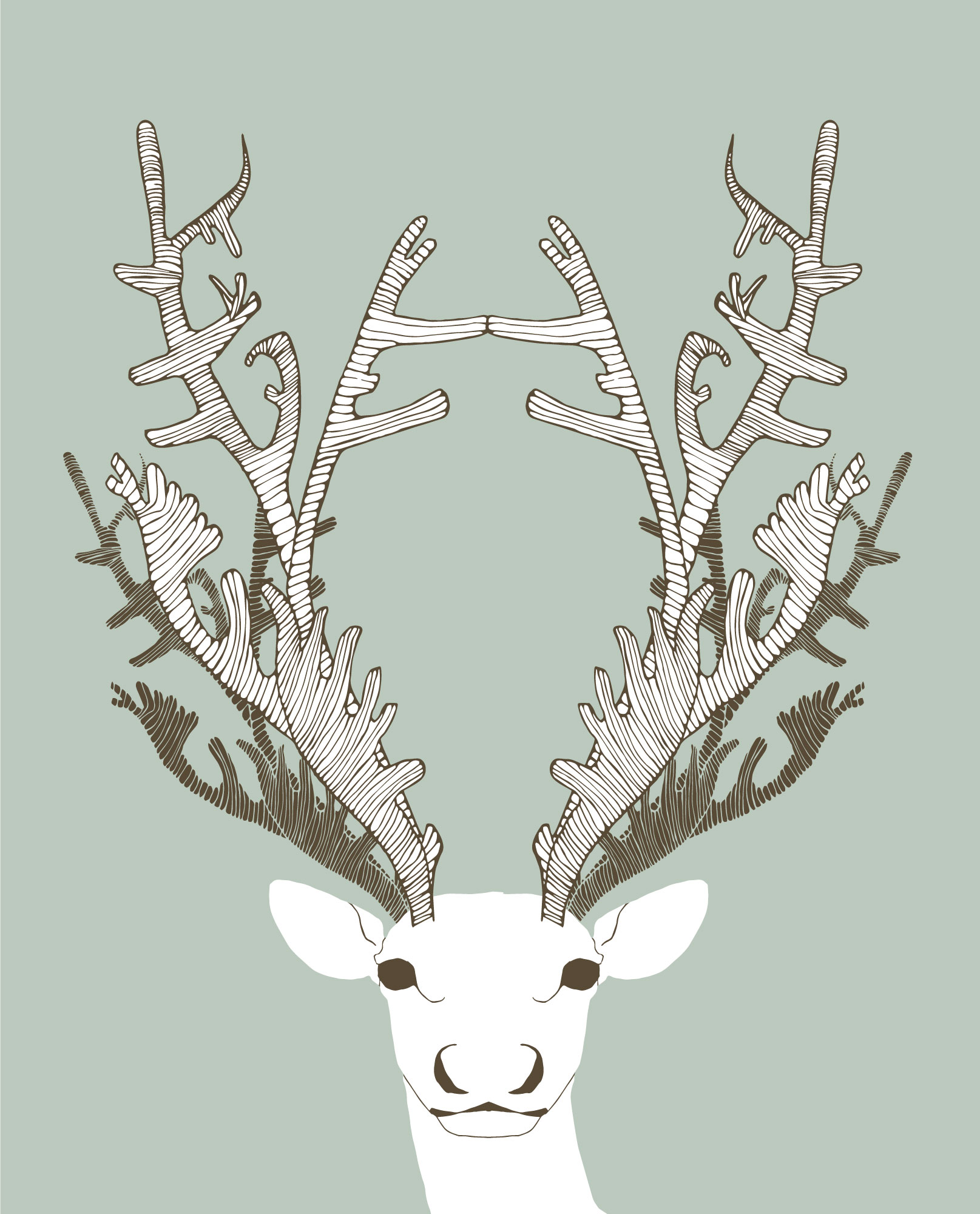 Caribou Illustration Wall Art - digital, custom colour artwork by Brina Schenk to match Dreaming of Caribou by Annex Suspended Art
