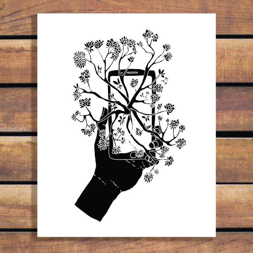 Brina Break Free Cellphone black and white illustration