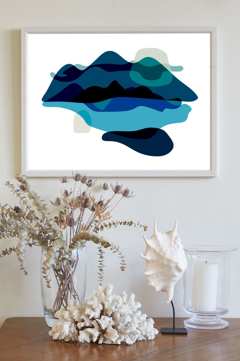 Brina Schenk - Abstract Mountains, Ocean Landscape in blue