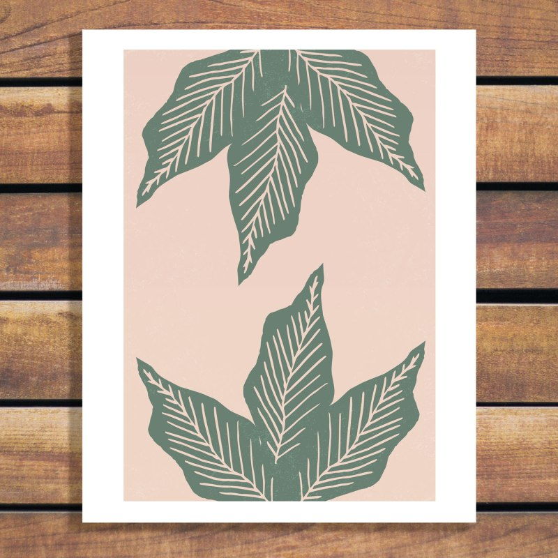 Surrounded by Plant Lovers by Brian Schenk - large leaf graphic green on light coral