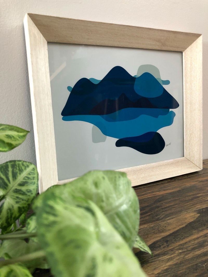 Abstract Mountain Art Print - wall art by Brina Schenk in Blue