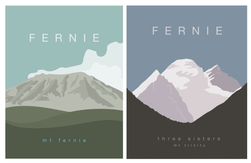 Fernie Mt Fernie and Three Sisters Art Prints by Brina Schenk - Illustration and custom colour options
