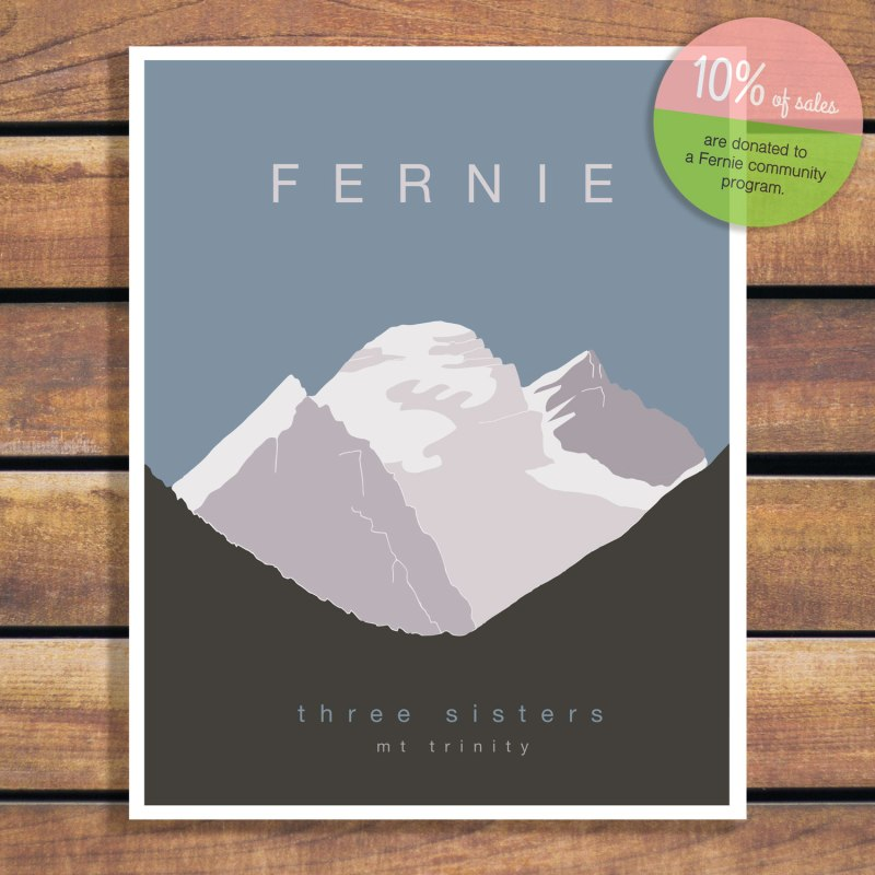The Three Sisters Fernie, BC - Illustration Art Poster by Brina Schenk