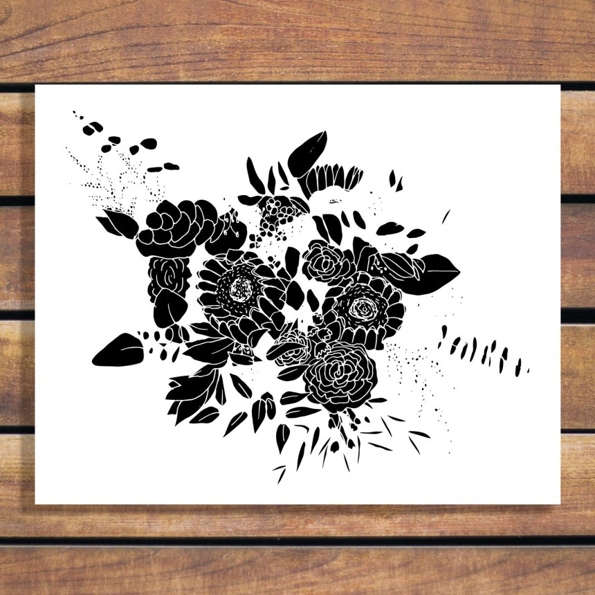 Brina Schenk sketch turned into a floral arrangement graphic, customizable wedding flower arrangement artwork