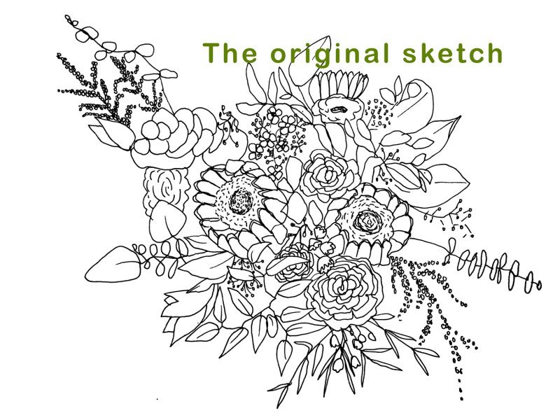 Wedding Bouquet Boho Style Line Art Sketch by Brina Schenk