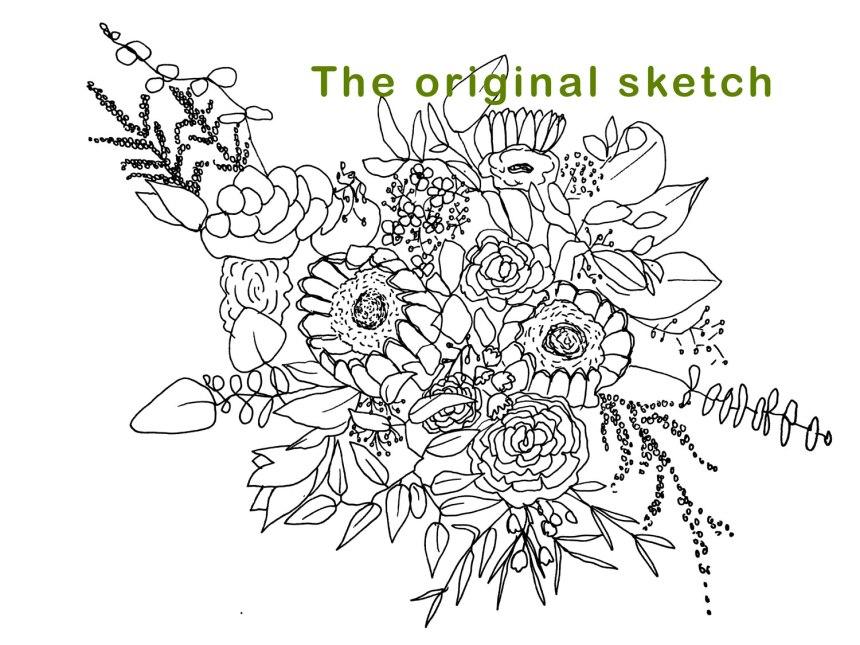 Wedding Bouquet Boho Style Line Art Sketch by Brina Schenk