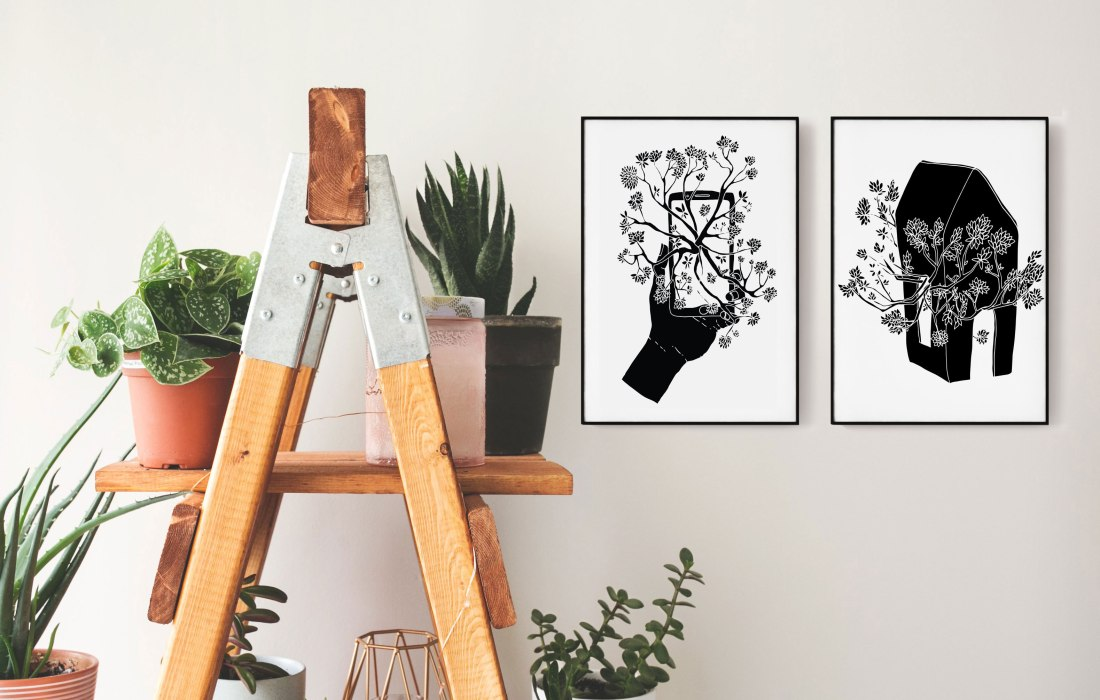 Brina Schenk illustration artwork - wall art in black and white graphic style