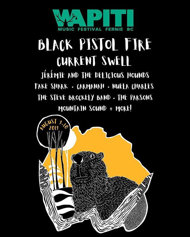 Wapiti Music Festival 2019 poster, art by Brina Schenk in Fernie BC