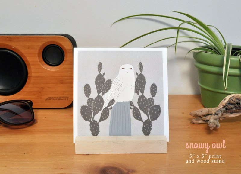 Birds & Botanicals - Snowy Owls Art Prints by Brina Schenk