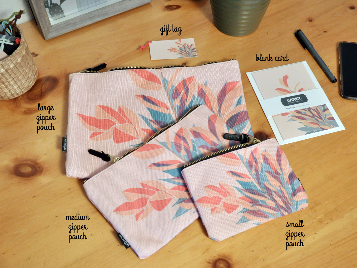 Botanical Duo – Pouches, Stationery and Gift Tags