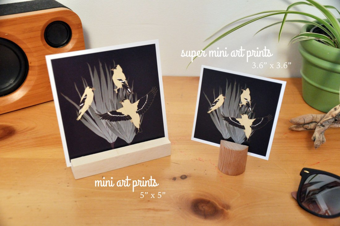Birds & Botanicals - Mini and Super Mini Art Prints by Brina Schenk - Goldfinch Illustration