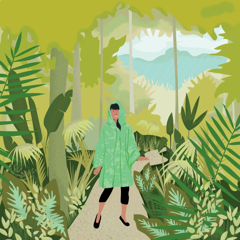 Woman wearing raincoat in the rainforest - meandering in the rainforest is good for the soul