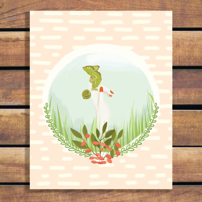 A girl and her chameleon in long grass illustration art print poster