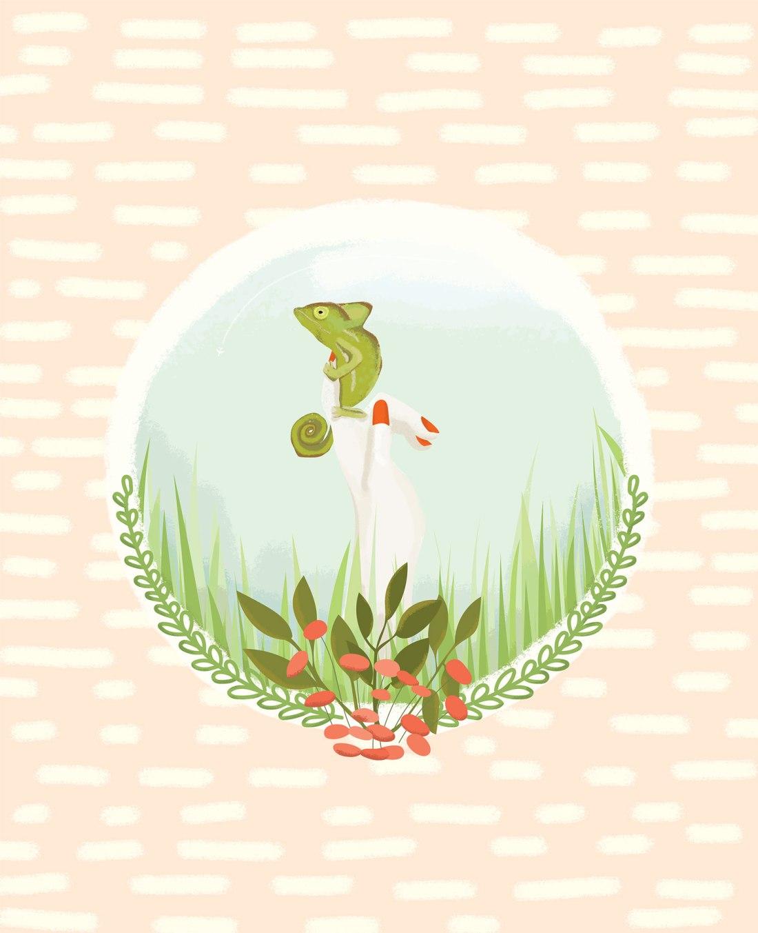 A girl and her chameleon in long grass illustration art print poster