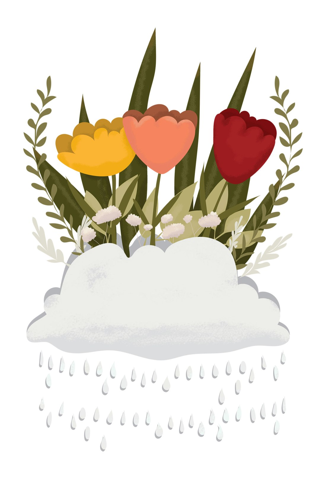 Let it rain, rain clouds growing flowers and plants, garden graphic