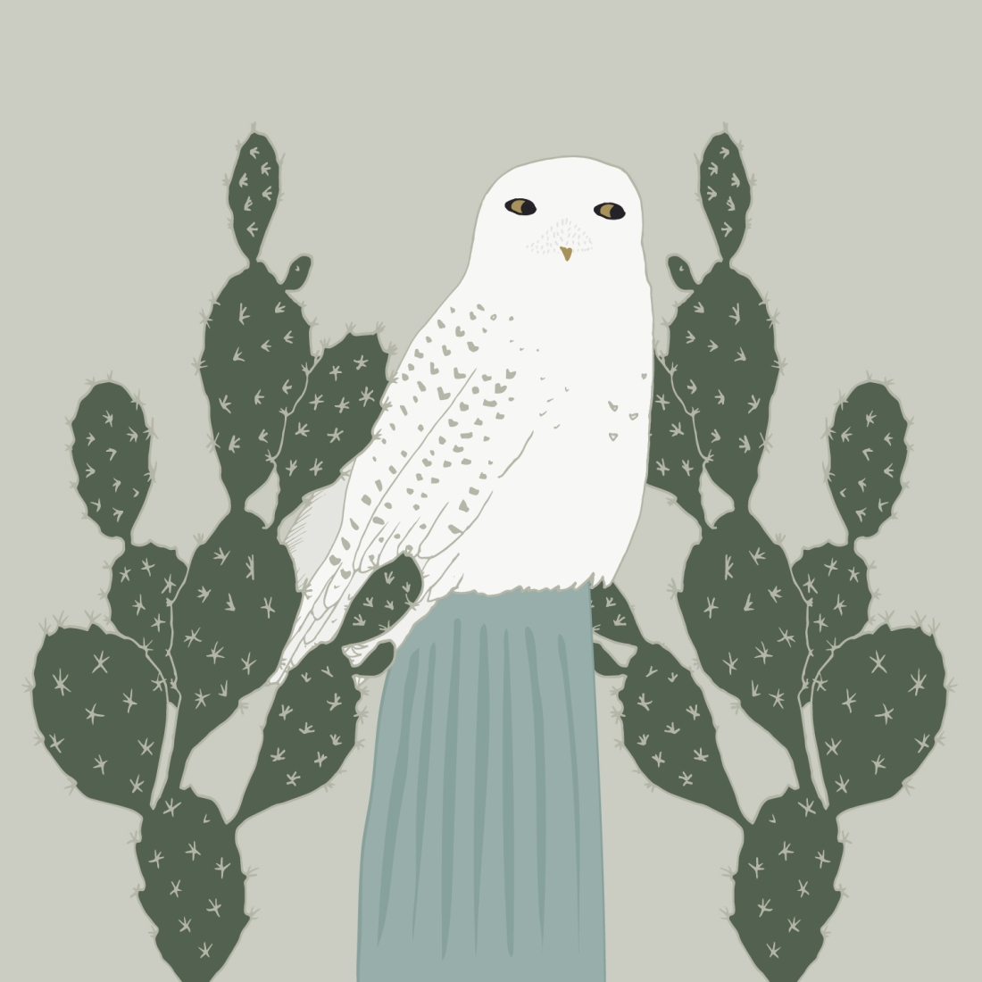 Snowy Owl and Cactus by Brina Schenk