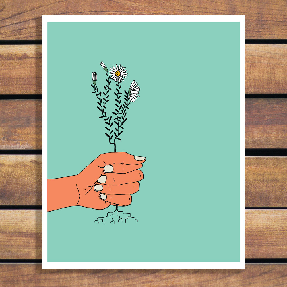 Hold Tight - hand holding daisies illustration art print