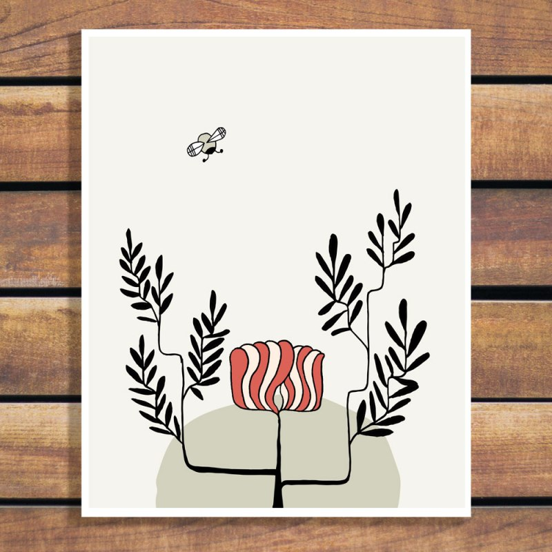 Natural Line Art Bee Dive - Illustration Art Print by Brina Schenk