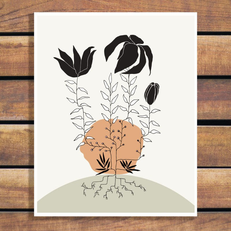 Plant Roots art print by Brina Schenk - finding a new home and family